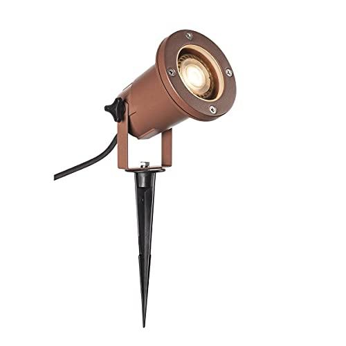 SLV BIG Nautilus qpar51, Outdoor Estaca lámpara, óxido farbend, IP65 maX. 11 W Lámpara, aluminio, 0 W, marrón