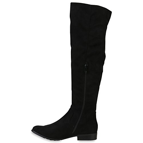Stiefelparadies Damen Overknees Langschaft Stiefel Overknee Boots Strick Metallic Flandell Schwarz Lack