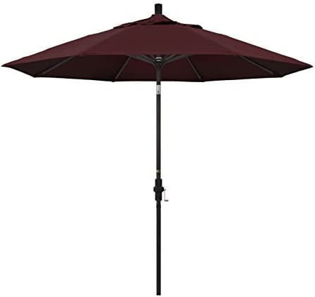 California Umbrella 9 Round Aluminum Market Umbrella, Crank Lift, Collar Tilt, Bronze Pole, Pacifica Burgundy