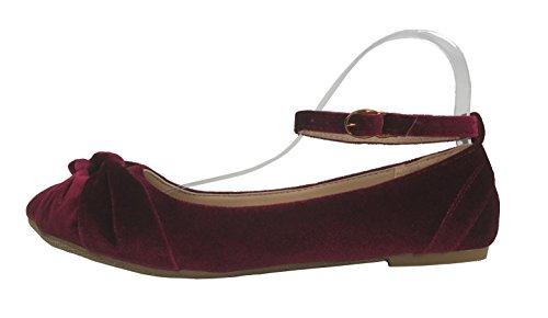 Steven Ella Weelderige Fluwelen Ballet Flats Met Gedraaide Knoop Detail  Enkelbandje Slip Op Schoenen Bordeaux Fluweel