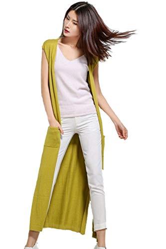 (Sweater Vest Women's Open Front Cardigan Cashmere Sleeveless Side Split Cardigan Pockets (One Size, 1197 Yellow))