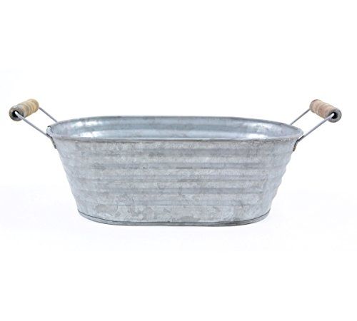 10.25'' Silver Color Galvanized Oblong Tin Container with Handles by The Costume Center