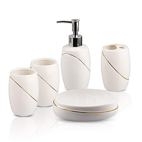 GALYGG White Ceramic Bathroom Accessories Set 5 Piece, Includes Soap Dispenser, Toothbrush Holder, Tumbler, Soap Dish (White) - Set Earrings Ceramic