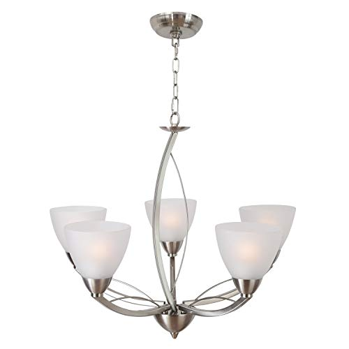 Lucidce Contemporary 5-Light Chandeliers Brushed Nickel Finish,Alabaster Glass Shades Hanging Pendant Lighting Fixture for Living Room, Dining Room, Kitchen