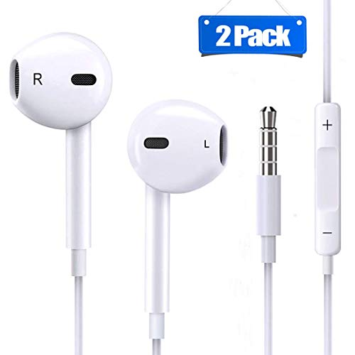 2 Pack Earphones/Headphones/Earbuds, Hopopowe 3.5 mm Wired Earphones HD Bass with Mic and Volume Control Noise Isolating for Phone 6s/6 Plus/5s/5c/5/4s/SE iPad/iPod 7 Samsung Galaxy and Android