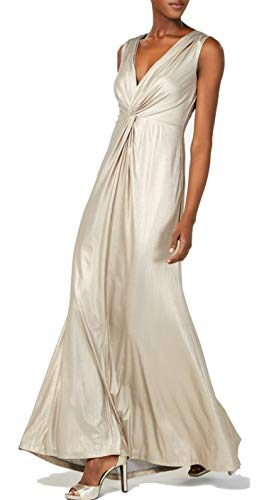 Calvin Klein Women's Sleeveless Metallic Gown with Twist Knot Front, Khaki, 8
