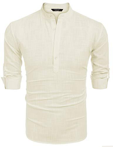 Han Solo Shirt (COOFANDY Men Premium Henley Neck Linen Shirts Casual Long Sleeve Basic)