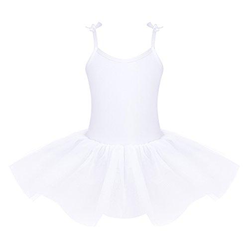 TiaoBug Big Girls Adjustable Spaghetti Shoulder Straps White Angel Tutu Leotard Ballet Dance Costume White 6