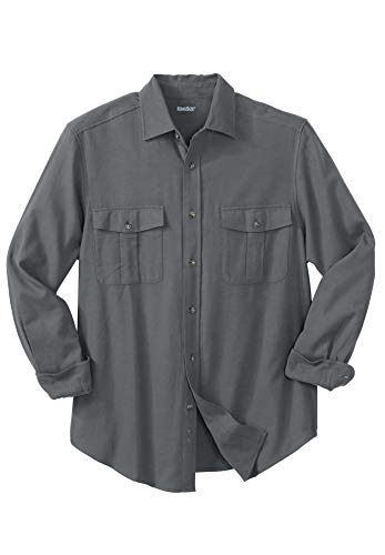 Tall Solid Double-Brushed Flannel Shirt, Steel Big-6Xl ()