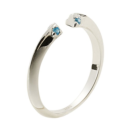 Jewever S925 Sterling Silver Iceberg Blue Zircon Open Ring Gift ()