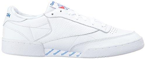 Reebok Heren Club C 85 Fashion Sneaker Wit / Lgh Effen Grijs / Vitale Blauw / Prml Rood / Blk
