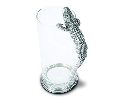 Vagabond House Glass Pitcher with Pewter Alligator