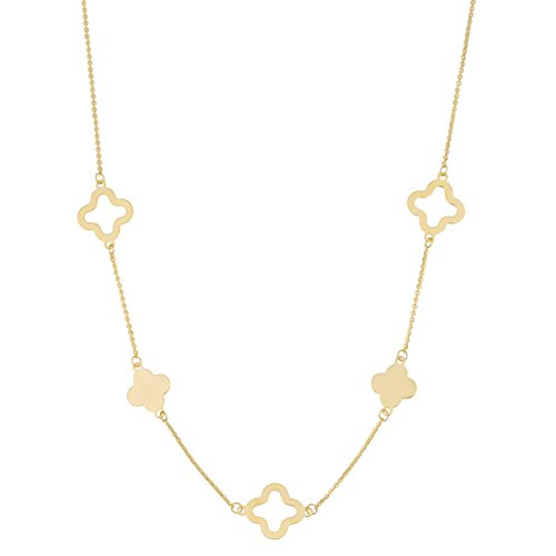 14k Yellow Gold Clover Station Necklace (18 inch) (Yellow 14k Gold Clover)