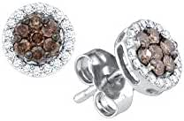 10k White Gold Brandy Diamond Chocolate Brown Flower Halo Screwback Stud Earrings 1/4 Ctw.