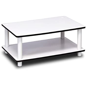 Furinno 11172 Just 2 Tier No Tools Coffee Table, White W/White Tube