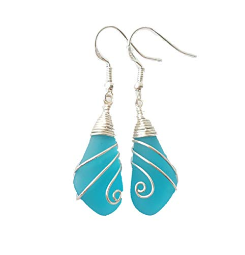 (Handmade jewelry from Hawaii, swirls wire wrapped Pacific blue sea glass earrings, sterling silver hooks, FREE gift wrap, FREE gift message, FREE shipping)