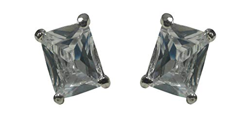- Bella Emerald Cut Stud Earrings Zircon Natural Stone in Crystal White Color Small Post Earrings NF89500-2crystal