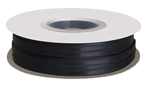 DUOQU 1/8 inch Wide Double Face Satin Ribbon 100 Yards Roll Multiple Colors Black