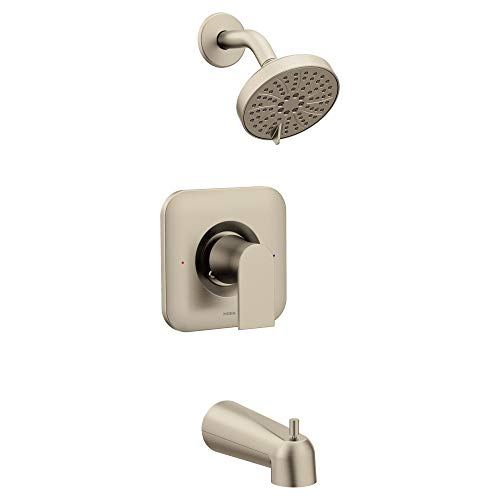 Moen T2473EPBN Genta Posi-Temp Pressure Balancing Eco-Performance Modern Tub and Shower Trim, Valve Required, Brushed Nickel - Nickel Pressure Tub