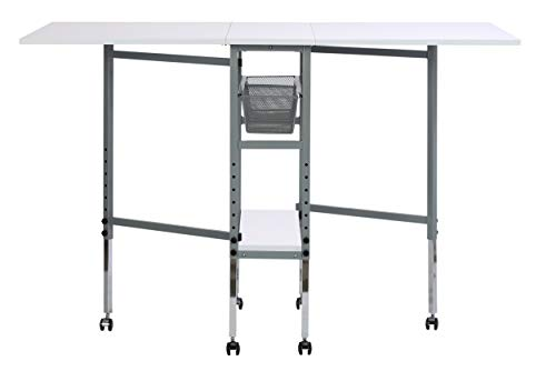 (Sew Ready Studio Designs Folding Multipurpose Hobby and Craft Cutting Table with Drawers, 13374, Silver/White)
