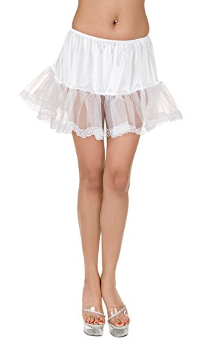 Charades Women's Lace Edge Costume Petticoat, White, One Size