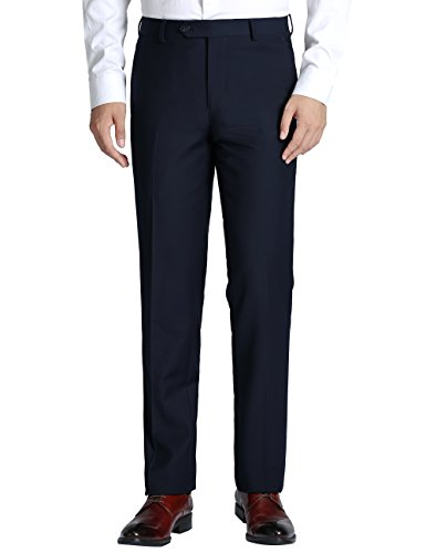 Chama Men's Slim Fit Non Iron Flat Front Dress Pant- Unhemmed (Dark Navy, 42R) by Chama