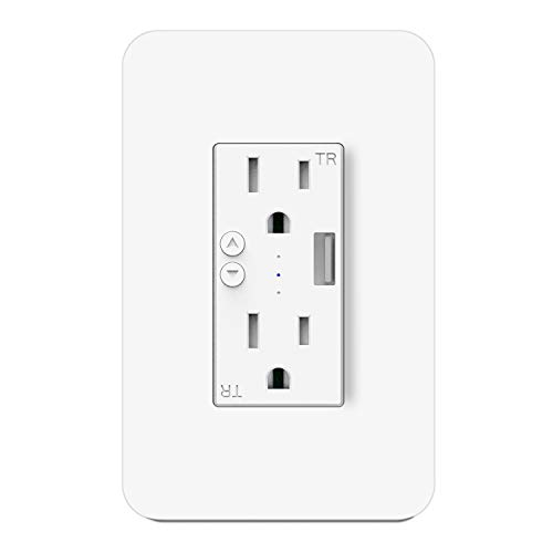 (WIFI Smart Outlet, Smart Socket with Duplex Independent Control AC TR Receptacle, High Speed USB 5V 2.1A Charger Port, Compatible with Alexa Google Home and IFTTT, In-Wall)