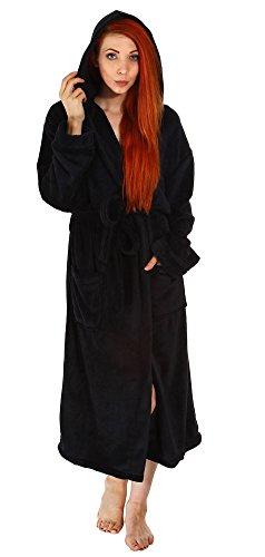 Womens Mens Fleece Robe Long Plush Hooded Bathrobe Pockets