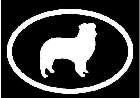 (White Vinyl Decal - Australian Shepherd Euro Cattle Dog Puppy Fun Sticker, Die Cut Decal Bumper Sticker for Windows, Cars, Trucks, Laptops, Etc.)