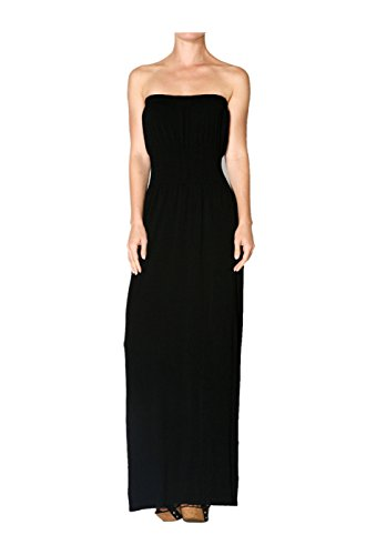 2LUV Women's Strapless Maxi Dress With Smocked Waistline Black M/L (H And M Fancy Dress)