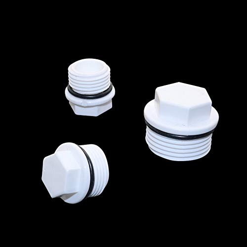 Maslin 1/2,3/4,1 Inch Male Thread Plug PVC Pipe European Standard Screw Plug Pipe Fitting Tube End Caps Plumbing Accessories 6 Pcs - (Thread Specification: 3/4