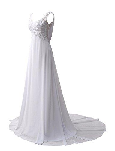 JYDress - Vestido - trapecio - para mujer beige Marfil 46