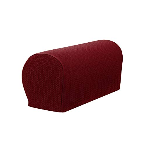 Recliner 2 Arm (SyMax Spandex Armrest Cover Stretch Fabric Anti-Slip Recliner Arm Covers Furniture Protector Set of 2(Wine))
