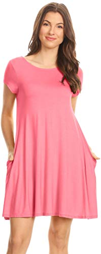 Simlu Coral Pink T Shirt Dress Plain Basic Casual Summer Dress with Pockets Cute Short Pink Dress Medium ()