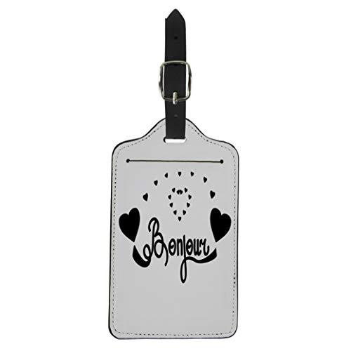 Semtomn Luggage Tag Colorful Lettering Bonjour and Heart Black Graphic Modern Abstract Suitcase Baggage Label Travel Tag Labels