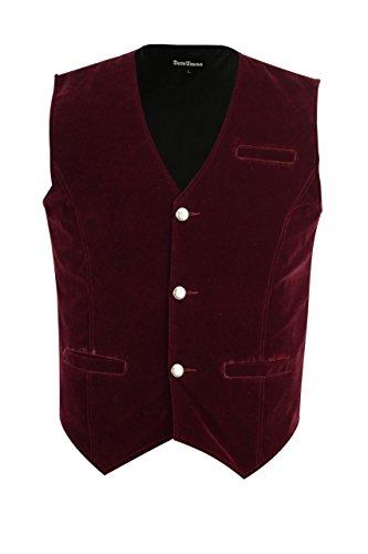 Darkrock-Mens-Vest-Waistcoat-Gothic-Steampunk-Victorian-Small-Red