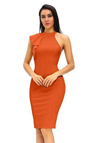 - Women's Fashion Ruffle One Shoulder Sleeveless Midi Bodycon Cocktail Party Dress Large Orange
