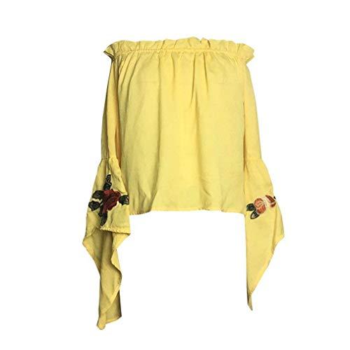 Mode Modle Tops Branch Nues Bateau Fleur Mousseline Femme Haut Top Style Encolure Mode Gelb Jeune Nu Spcial paules Brode Party Printemps Longues Elgante Dos Chemise Blusen Manches wxSE4A8qx