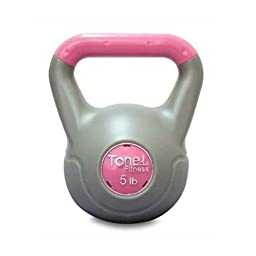 Tone Fitness 5-Pound Vinyl-Coated Kettlebell, Cement Filled