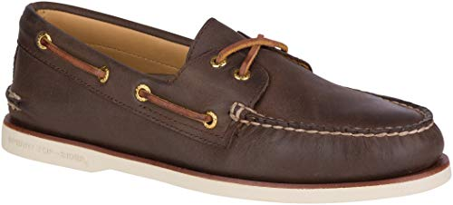Sperry Mens Gold A/O 2-Eye Boat Shoe, Brown, 11 (Gold Sperry Shoes)