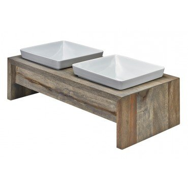 Bowsers Artisan Diner Double Feeder, Medium, Fossil