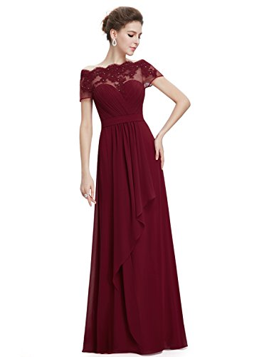 Ever-Pretty Womens Long Flowy Lace Illusion Neckline Prom Dress 16 US Burgundy