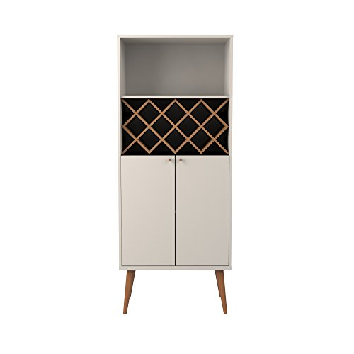 Manhattan Comfort Utopia Collection Mid Century Modern Wine Holder With Storage Cabinet and Three Shelves, Splayed Legs, Off White