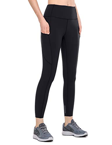CRZ YOGA Women's High Waisted Yoga Pants with Pockets Naked Feeling Workout Leggings-25 Inches Black 25