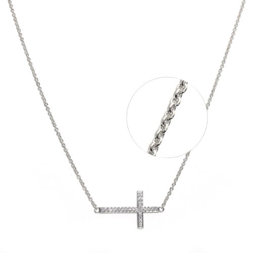 Sterling Silver Rhodium Plated Fancy Cubic Zirconia Sideway Cross Necklace Chain 16