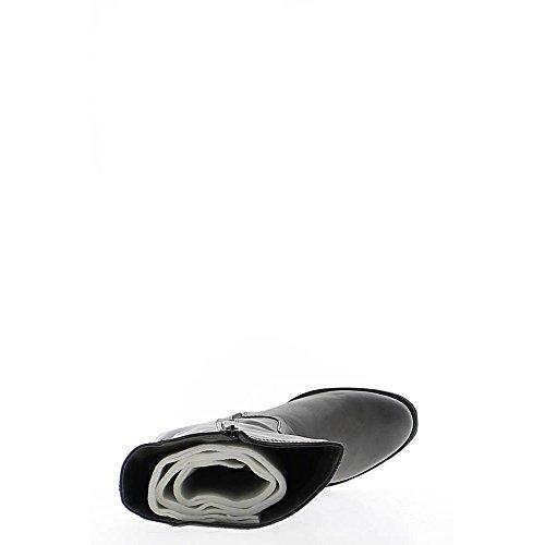 Bottes grises à talon carré de 4cm simili cuir
