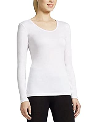 Weatherproof Women's Long Sleeve Scoop Neck (Small, White)