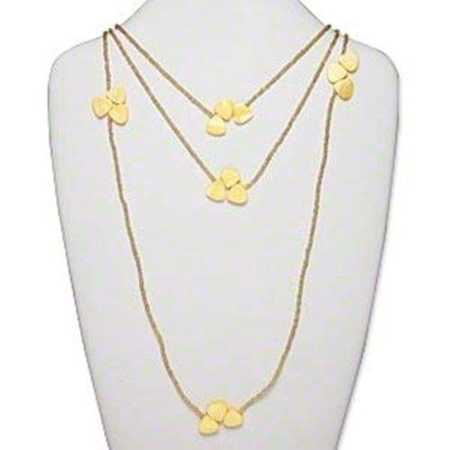 (Yellow Mother of Pearl Petal Beads Cluster Gold Seed Bead 70 Wrap Necklace ID-2495)