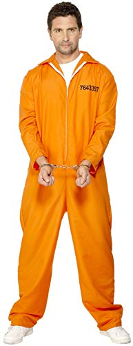Smiffys 29535XL Escaped Prisoner Costume, Men, Orange, XL - Size 46