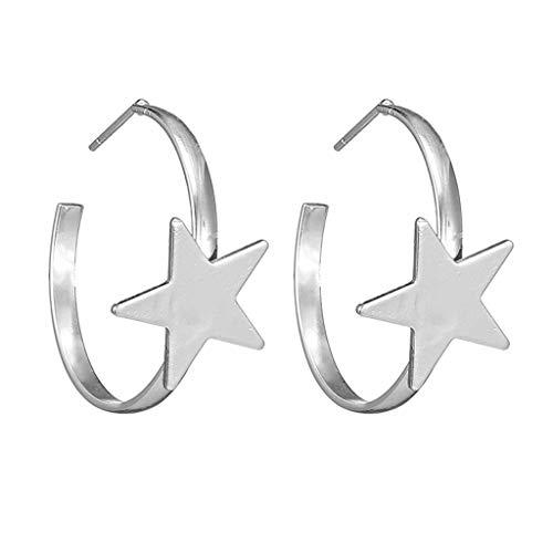 XBKPLO Dangle Hoop Earrings for Women's Fashion Minimalist Oversized Star Dangling Ear Hook Wild Jewelry Lady Gifts - Steel Chain Oversized Handcuff
